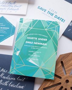 Declare your theme early to your guests with bold geometric lines on save the dates & invitations. These invites with shades of green and blue and matte gold foil are sure to grab your guests' attention! | Photo By: @mikkelpaige: