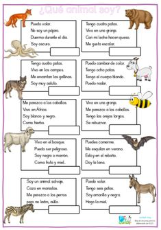 ¿Qué animal soy? Juego de comprensión lectora. Spanish Worksheets, Spanish Teaching Resources, Spanish Language Learning, Kids Worksheets, Preschool Learning Activities, Teaching Kindergarten, Spanish Classroom Activities, Spanish Lessons For Kids, Learning Sight Words