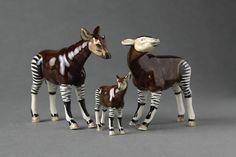 Porcelain Okapi family