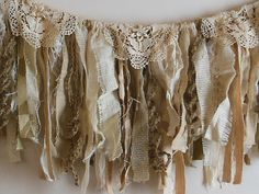 RESERVED Burlap fabric garland romantic fringe by AgoVintage