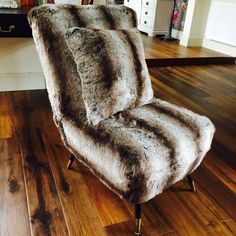 chair upcycled and upholstered in Rabbit Alaskan faux fur. Get in touch  with Suburban Salon for similar 6758cc8e2d89d