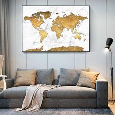 Did you ever think that you could combine together the globe, a stately white marbled effect, and some stunning gold foil, and it actually work as an intentional design in your decorating? Well, now you've seen it all! This blend of a white marbled base with careful formation of the earth's countries and continents is pretty stunning! The gold foil use of the globe also really adds a sense of modern theme to it, with lots of detail in the texturing that matches up seamlessly with the marble bene Gold World Map, World Map Decor, Globe Decor, Map Wall Decor, World Map Canvas, Country Maps, Continents, Gold Foil, Countries