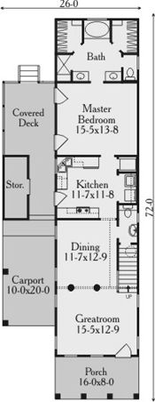 First Floor Plan image of Featured House Plan: BHG - 3637 Narrow Lot House Plans, Small House Plans, House Floor Plans, Southern Cottage, Southern House Plans, Coastal Cottage, Southern Living, Cottage Style House Plans, Cottage Homes