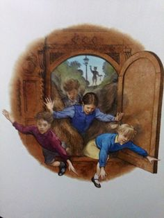 Lucy, Edmund, Susan and Peter enters back into the wardrobe from Narnia