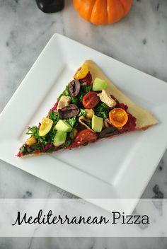"""Vegan Mediterranean Style Pizza with fresh tabouleh and Gardein """"chicken"""""""