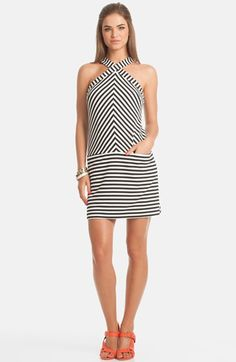 Trina Trina Turk 'Alicina' Stripe Halter Shift Dress cotton/spandex black/white 35.5L sz0 188.00