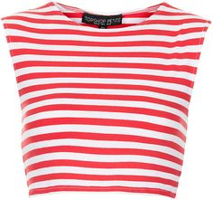 TOPSHOP Red Petite Stripe Stretch Crop Tee