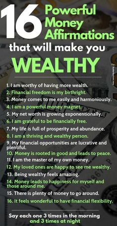 Powerful Money Affirmations that will make you wealthy These affirmations will destroy your mental blockages for money and make you wealthy in the process.These affirmations will destroy your mental blockages for money and make you wealthy in the process. Positive Self Affirmations, Positive Affirmations Quotes, Wealth Affirmations, Morning Affirmations, Affirmation Quotes, Quotes Positive, Affirmations For Money, Positive Thoughts, Gratitude Quotes