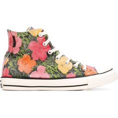 Converse Floral Print High-Top Sneakers ($134) ❤ liked on Polyvore featuring shoes, sneakers, multicolour, floral sneakers, colorful sneakers, converse sneakers, high top sneakers and converse trainers