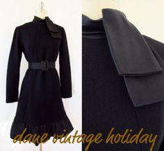 MOD Vtg 60s BILL BLASS Wool Knit ruffle collar Shift and Cocktail Dress