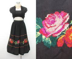 1930s Mexican Skirt / 30s Handmade Skirt / Vintage 40s Skirt / 1940s Embroidered Floral Skirt / Black Rayon Crepe Skirt / Rockabilly / M on Etsy, $148.00