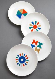Style Hungry? Plate Set - Multi, Mid-Century, Print