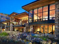 Vail Valley Mountain Zeitgenössische Residenz - Mountain Home Decor Modern Mountain Home, Mountain Homes, Vail Mountain, Style At Home, Residential Architecture, Architecture Design, Japanese Architecture, Solar House, Dream House Exterior