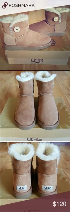 UGG BOOTS Brand new never worn UGG Boots. These are Baily Button Boots. I never worn them as I have too many. These are chestnut in color and have one button on the side. UGG Shoes Ankle Boots & Booties
