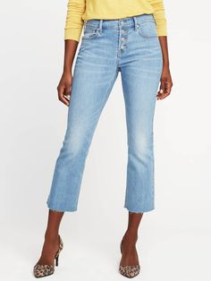 Mid-Rise Button-Fly Flare Ankle Jeans for Women | Old Navy