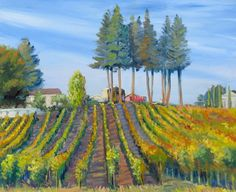 Vineyards in Fall, oil painting, landscapes painting, realism, classical, plein air painting, grass, green, field, landscape, California, impressionism,