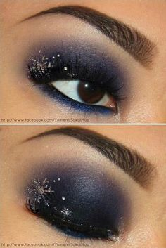 winter makeup with glitter snowflake <3