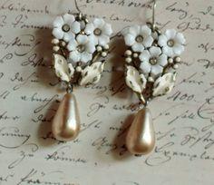 Paperwhites - assemblage white flower earrings