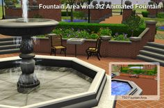 The Sims 2 | nanashi: 3t2 central park lot with Animated Fountain