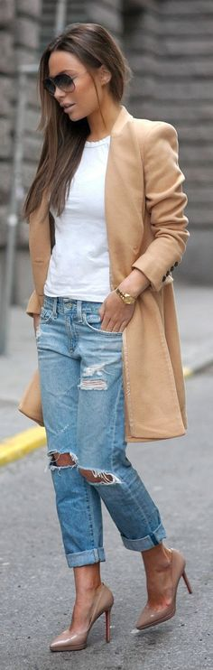 The Camel Coat with Tee White + Destroyed Blue Skinny and Nude Heels Pumps