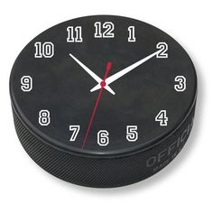 Decor for a Hockey Bedroom Theme - Puck Clock Boys Hockey Bedroom, Hockey Room, Hockey Puck, Ice Hockey, Hockey Girls, Hockey Players, Hockey Decor, Bedroom Themes, Bedrooms