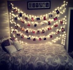 Cute and Easy Way To Spice Up Your Room: Christmas Lights. Whether being used as a seasonal or a year round room decor, Christmas lights are great! They can be placed as a border around a closet or window, or they can be hung on a wall. When on the wall, you can hang pictures from the string of the light with clothespins (as shown above). -Payton Coakley