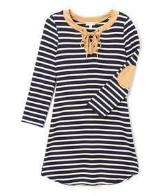 Look at this #zulilyfind! Navy & Tan Stripe Patch-Elbow Shift Dress - Tween #zulilyfinds