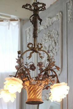 French Antique Rose Chandelier~This is so unique, wouldn't it be precious in a little girl's room~❥