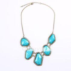 $6.99 Sapphire Blue Irregular Shaped Acryl Bib Necklace at Online Jewelry Store Gofavor