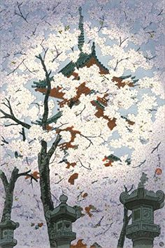 "Japanese Art Print ""Blooming Cherry Tree at Toshogu Shrine, Ueno"" by Kasamatsu Shiro. Shin Hanga and Art Reproductions http://www.amazon.com/dp/B012IC8VBM/ref=cm_sw_r_pi_dp_UCxswb02R0A9Y"