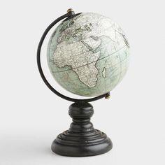 Mini Gray Globe on Stand