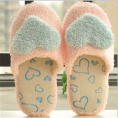 $7.02 (Buy here: http://appdeal.ru/9mt0 ) Promotion On Sale Autumn Winter Woman Love Heart Pattern Slippers Indoor Soft Bottom Cotton Slipper Bedroom House Women Slippers for just $7.02