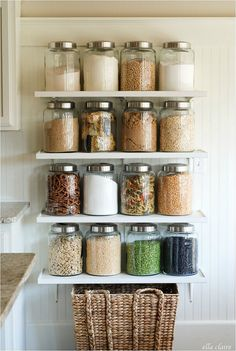 Idea: Put your pantry on display by keeping dried goods and other treats in lidded glass jars. Ella Claire blogger Kristen shows us how to recreate her country store themed shelves here. Get it: You can get her kitchen jars at Cost Plus World Market.