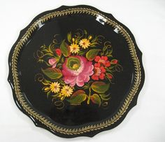 images of tole trays | Russian Decorative Hand Painted Round Serving Tray
