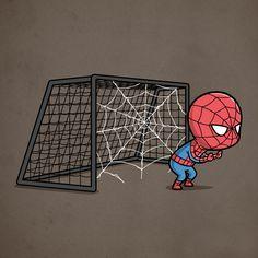 Ilustraciones de superhéroes reinventados como deportistas