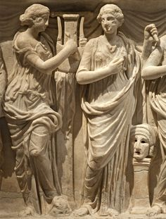 Sarcophagus of the Muses - Detail, Terpsichore and Thalia - white marble,  found Rome, 180-200 A.D. at the Museum of Art History, Vienna