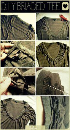 DIY Braided : DIY Braided Tee Shirt