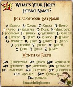 Funny pictures about Dirty Hobbit Names. Oh, and cool pics about Dirty Hobbit Names. Also, Dirty Hobbit Names. Whats Your Elf Name, What Is Your Name, Elf Names, Name Games, Fb Games, Group Games, Funny Names, The Hobbit, I Laughed