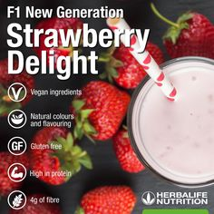 Herbalife Shake Flavors, Herbalife F1, Herbalife Recipes, Herbalife Nutrition, Herbalife Products, Fiber Nutrition, Sports Nutrition, Beach Body Ready, Strawberry Delight