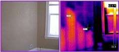 Another double view. This bedroom looks ok the human eye, but the IR camera says something different. A barrier has kept the insulation from reaching into the lower part of the wall. It is only half insulated!