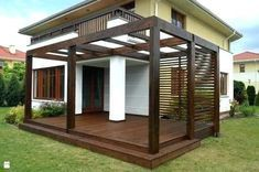The pergola kits are the easiest and quickest way to build a garden pergola. There are lots of do it yourself pergola kits available to you so that anyone could easily put them together to construct a new structure at their backyard. Diy Pergola, Timber Pergola, Pergola Carport, Pergola Canopy, Pergola Swing, Outdoor Pergola, Wooden Pergola, Backyard Pergola, Pergola Shade