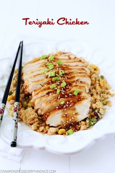 "Baked chicken breasts with an easy honey teriyaki sauce and pineapple fried ""cauliflower"" rice, a healthier alternative to white rice."