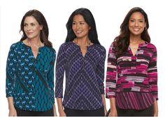 Women's Dana Buchman Knit Henley Top | @Kohls.com - I like the PinkBrushstrokes at the right
