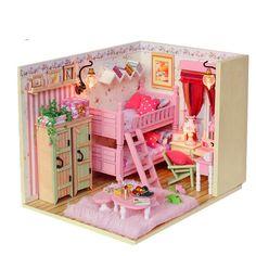 DIY Miniature Girl Bed Room Miniature Handcraft Kit Birthday Gifts Christmas Gift Kids Women Toy Assembly Dollhouse kits  Model Kit