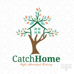 Exclusive Customizable Logo For Sale: Catch Home | House Tree | StockLogos.com