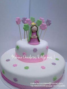 Torta virgen niña primera comunión Un tradicional y delicioso bizcocho de novia Makenachocolates@hotmail.com  Tel 4563355 Whatsapp 3017323283