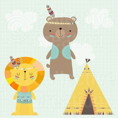 Playtime Bear and Lion with Teepee Digital Clipart Clip Art - Commercial and Personal Use Cute Illustration, Character Illustration, Art Wall Kids, Art For Kids, Teepee Kids, Teepees, Tribal Patterns, Le Far West, Kids Prints