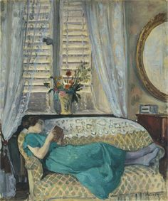 The Athenaeum - A woman reading (Henri Lebasque - No dates listed)