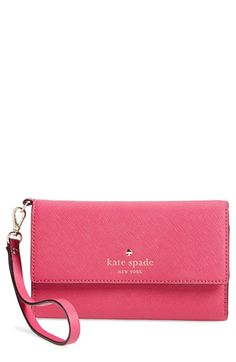 kate spade new york 'cedar street' iPhone 6 leather wristlet available at #Nordstrom - black or gold