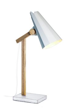 Filly Table Lamp, White. Aluminium shade. Stem made of solid oak and concrete base.